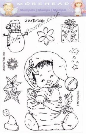 Christmas Surprise Elf In A Stocking 9  Clear Rubber Stamp Set From Morehead